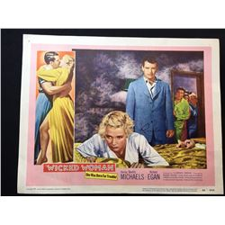 """1953 """"WICKED WOMAN"""" LOBBY TITLE CARD, SIGNED BY RICHARD EGAN"""