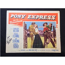 """1953 """"PONY EXPRESS"""" LOBBY SCENE CARD, #5 IN SET, SIGNED BY JAN STERLING"""