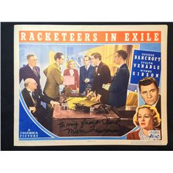 """1937 """"RACKETEERS IN EXILE"""", LOBBY TITLE CARD, SIGNED BY MARK LAWRENCE"""