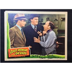 """1940 """"LOVE, HONOR AND OH-BABY!"""" LOBBY SCENE CARD, SIGNED BY MARK LAWRENCE"""