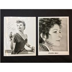 2 COLEEN GRAY SIGNED 8'' X 10'' PHOTOGRAPHS