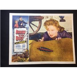 """1954 """"ARROW IN THE DUST"""" LOBBY SCENE CARD, SIGNED BY COLEEN GREY"""