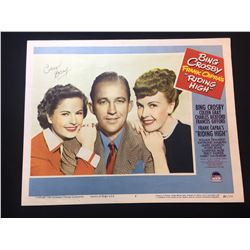 """1950 """"BING CROSBY IN FRANK CAPRA'S """"RIDING HIGH"""""""" LOBBY SCENE CARD, #7 IN SET, SIGNED BY COLEEN GRAY"""