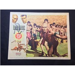 """1964 """"KINGS OF THE SUN"""" LOBBY SCENE CARD, #5 IN SET, SIGNED BY YUL BRYNER"""