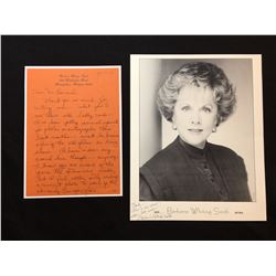 BARBARA WHITING SMITH SIGNED 8'' X 10'' PHOTOGRAPH, WITH HANDWRITTEN NOTE ON HER PERSONAL MEMO PAPER