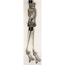 Vintage Navajo Sterling Turquoise Owl Bolo Tie