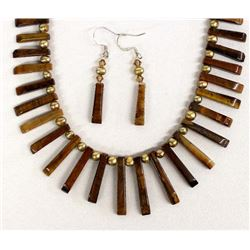 Tiger's Eye Bead Necklace and Earrings