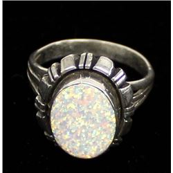 Native American Sterling & Opal Ring, Size 7.5
