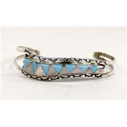 Zuni Sterling Inlay Bracelet by E & C Seoutewa