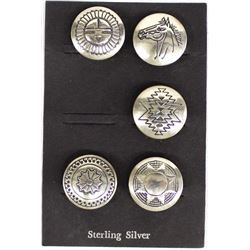 5 Native American Navajo Sterling Button Covers