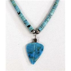 Navajo Turquoise Heishi & Carved Pendant Necklace