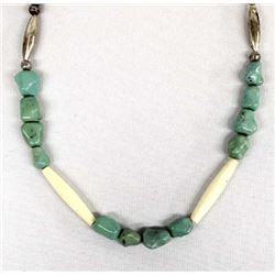 Navajo Sterling Turquoise Nugget Necklace