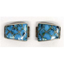 Vintage Zuni Sterling Inlay Watch Band Tips