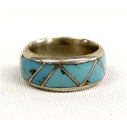 Navajo Sterling & Inlay Turquoise Wedding Band