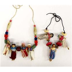 2 Mexican Hand Crafted Worry Doll Necklaces