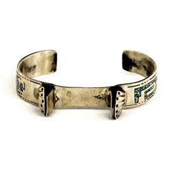Navajo Sterling & Chip Inlay Watch Bracelet