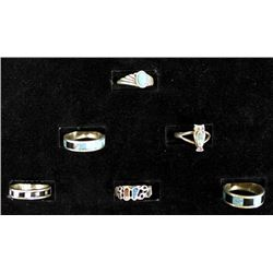 6 Native American Navajo Sterling Turquoise Rings