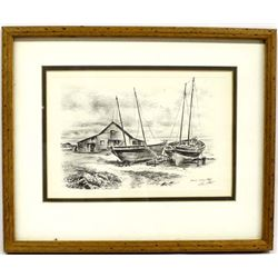 Framed & Matted Etching by Alec Stern 1904-1994