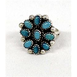 Navajo Sterling Turquoise Cluster Ring, Size 8