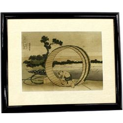 Vintage Framed & Matted Chinese Woodcut Print