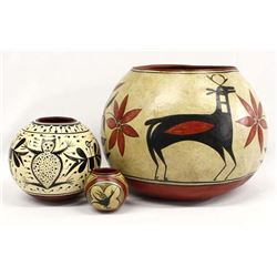 Three 2012 Painted Gourd Bowls by John Schaefer
