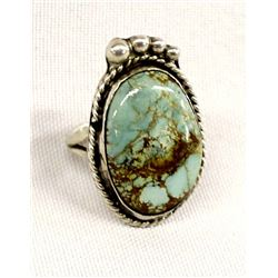 Navajo Sterling Turquoise Ring, Size 8