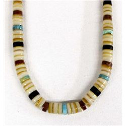 Vintage Navajo Shell & Turquoise Heishi Necklace