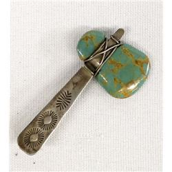 Navajo Sterling Silver Turquoise Tomahawk Pin