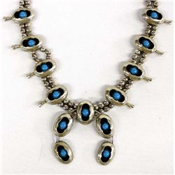 Navajo German Silver and Turquoise Squash Blossom