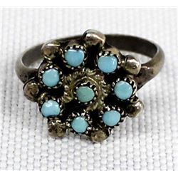 Zuni Sterling Petit Point Turquoise Child's Ring