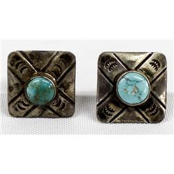 Antique Navajo Sterling Turquoise Cufflinks