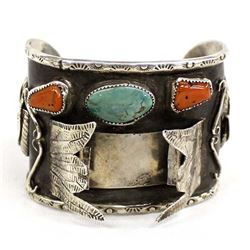 Navajo Sterling Turquoise Coral Watch Bracelet