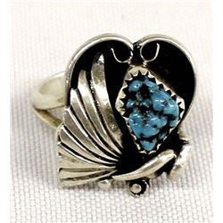 Vintage Navajo Sterling Turquoise Ring, Size 8