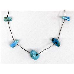 Navajo Liquid Silver & Turquoise Nugget Necklace