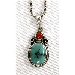 Navajo Sterling Turquoise & Coral Pendant Necklace