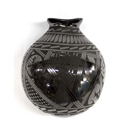 Mata Ortiz Black on Black Pottery Jar by E. Tena