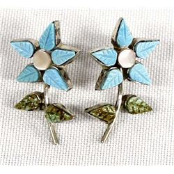 Native American Zuni Turquoise Flower Earrings