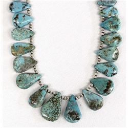 Navajo Sterling Turquoise Bead Necklace
