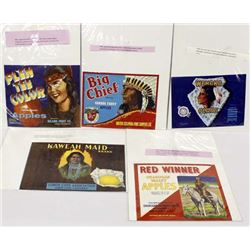 Collection of 5 Fruit Box Labels