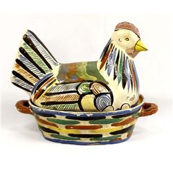 Large Vintage Mexican Pottery Chicken on the Nest