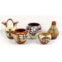 5 Native American Jemez Pottery Pieces
