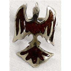 Vintage Navajo Sterling & Chip Inlay Bird Ring