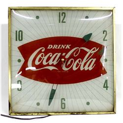Vintage Coca-Cola Clock, Does Run & Light Up