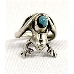 Navajo Sterling Turquoise Frog Ring