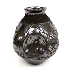 Mata Ortiz Black on Black Textured Jar by Gonzalez