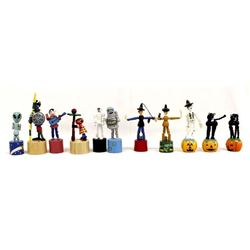 11 Vintage Halloween Wood Push Puppets