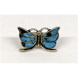 Navajo Sterling and Inlay Turquoise Butterfly Ring