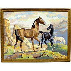 Framed Vintage Paint by Number Horse Painting