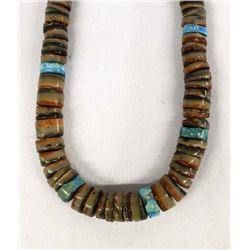 Navajo Red Shell & Turquoise Heishi Necklace