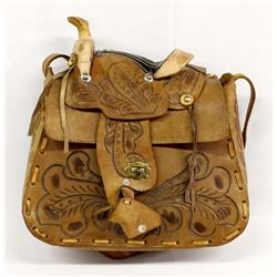Vintage Mexican Hand Tooled Leather Saddle Purse
